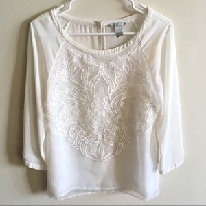 H&M white embroidered blouse