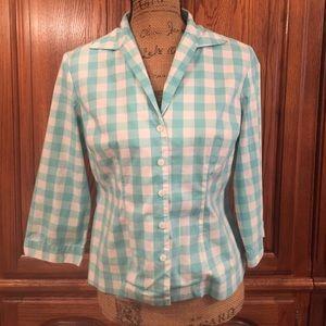 Vintage Evan Picone Checked Button Down Shirt
