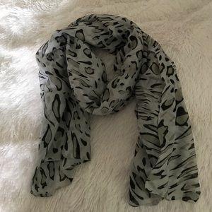 Grey Snow Leopard Long Scarf Francesca's