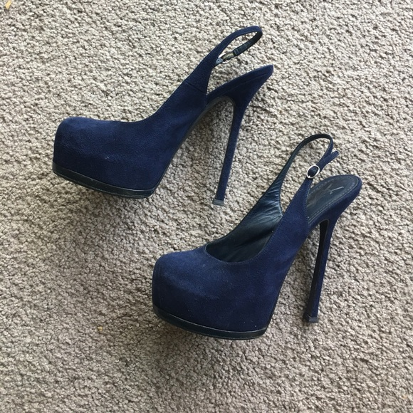e6cf1e6888 Yves Saint Laurent Shoes | Navy Blue Suede Ysl Tribtoo Sling Backs ...