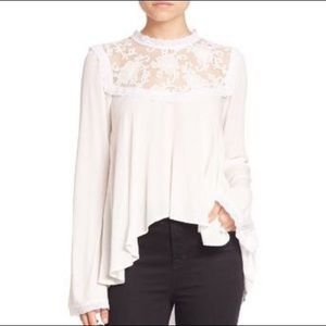 For Love & Lemons Ellery Long Sleeve Lace Blouse