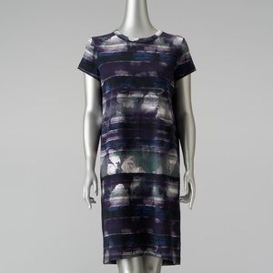 NEW Mixed Media Floral T-Shirt Dress Draped