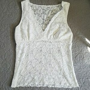 Lovely White Lace Cami by Freedom OHS Clothing