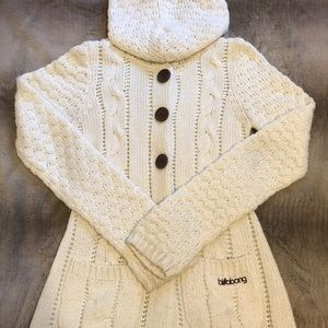 Cable knit hooded cardigan