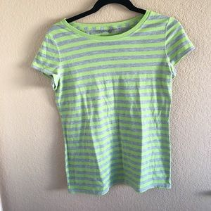 short-sleeve green & gray striped top