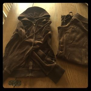 express brown velour track suit, Size XS