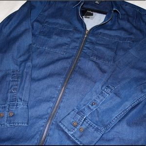 Forever 21 men's dark denim shirt with zipper