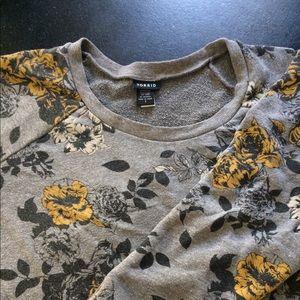 Floral Print Grey Sweatshirt