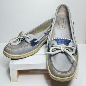 Sperry Angelfish Sky Blue/Grey and Seersucker Flat