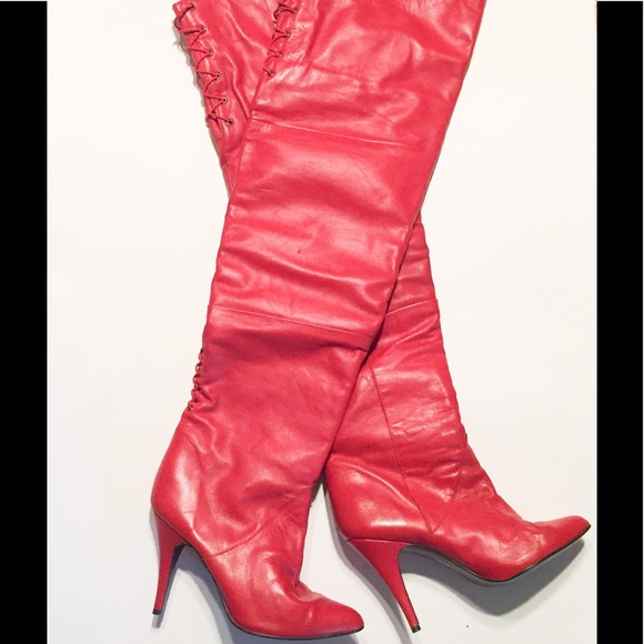 e0ab6ffcee13d 80s Vintage thigh high RED Leather Corset Boots
