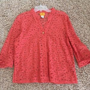 Fall corral color blouse. 3/4 sleeves. Size 8