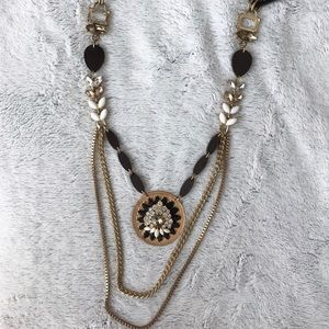 Long Gemstone and Faux Leather Chain Necklace