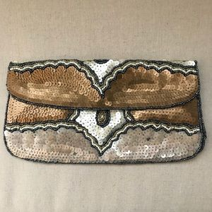 Anthropologie Multi Color Gold Sequin Clutch Pouch
