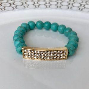 Turquoise & Crystal Beaded Bracelet