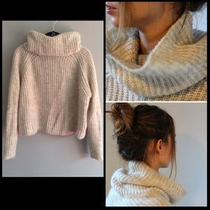 Cowl neck Turtleneck Cropped Ribbed Sweater