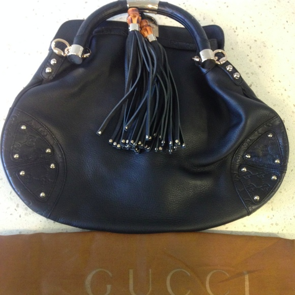 325a56b95829f5 Gucci Bags | Babouska Indy Bamboo Tassel Hobo Bag Black L | Poshmark