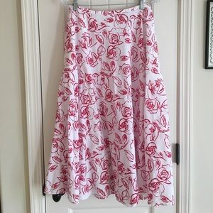 Breezy a-line maxi skirt, red and white. Size 8.