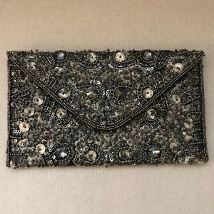 Anthropologie Grey and Silver Beaded Sequin Clutch
