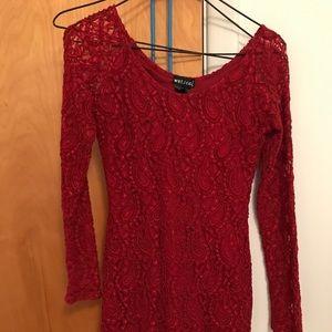 Wet Seal Red Lace Dress Size Medium ♥️❤️♥️❤️♥️