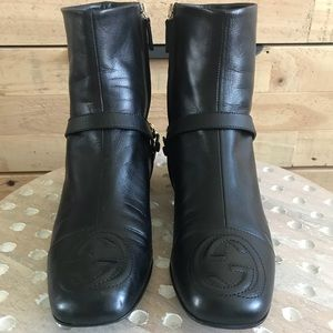 Gucci Soho Black Leather Ankle Boot, Size 36.5