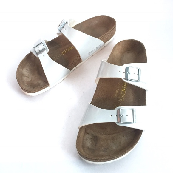 c66d39048dd Birkenstock Shoes - BIRKENSTOCK Sydney Birks-flor White Sandals    40
