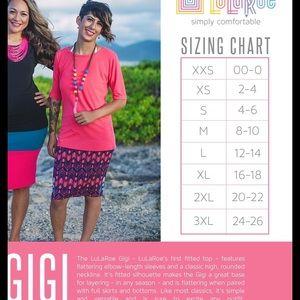 Gigi Size Chart Trinity