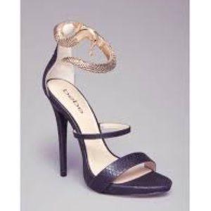 BEBE black sameena sandal with gold snake anklet