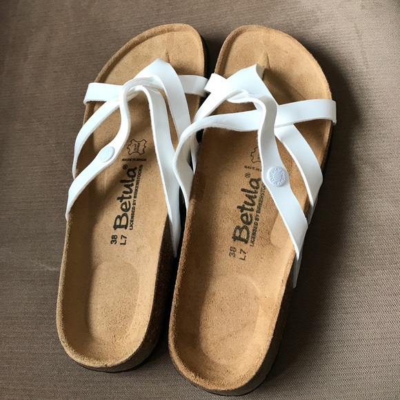 85490e2127c504 Birkenstock Shoes - White Patent Leather Betula Sandals