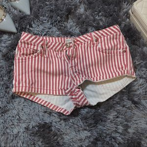 ZARA red and white denim shorts