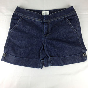 WHBM Blanc Dark Stretch Denim Blue Jean Shorts