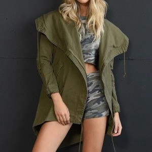 Olive Longline Jacket