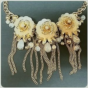 Wild Flower Jewelry - Gold Blush Rose and Chain Statement Necklace Set