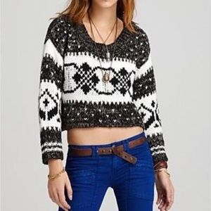 Free People Fair Isle Nordic Cropped Sweater Small