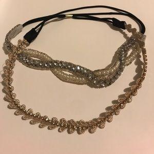 2 rhinestone headbands metallic stone crown hair