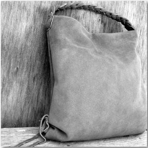 Handmade Slouchy Leather Hobo Bag In Gray Suede