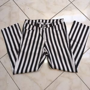H&M Black and White Striped Pants