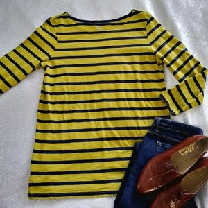 Striped Yellow Navy 3/4 Sleeve Tee