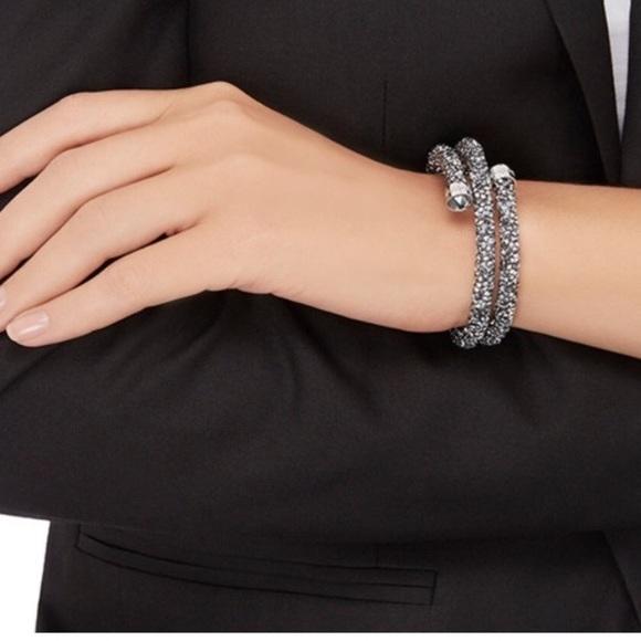 Authentic Swarovski Crystaldust Bangle double grey