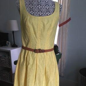 Nine West Belted Burnout Fit and Flare Dress
