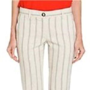 Tory Burch Striped Capris Tapioca Pants