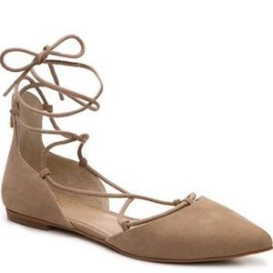 Vince Camuto nude lace up flats