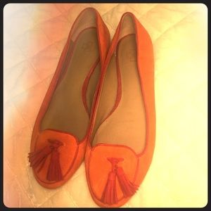 Ann Taylor Burnt Orange flats with red trim