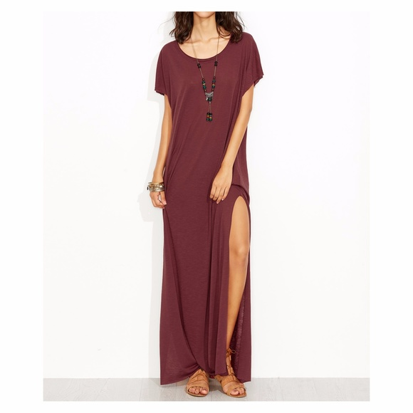 4323a79b0519 🔥LAST ONE Burgundy Red Oversize Maxi Tee Shirt