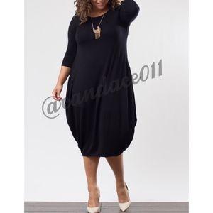 ⭐️5 STAR rated⭐️3/4 Sleeve Black Bubble Midi Dress