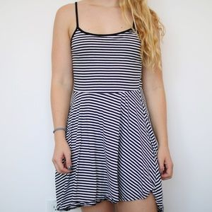 Striped Skater Style Dress With Adjustable Straps