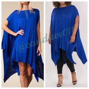 Oversized Handkerchief Hem Dress (Royal Blue)