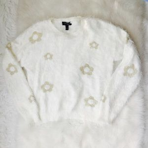 JESSICA SIMPSON Cream Gold Sweater Sz L