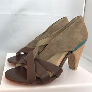 Farylrobin Open Toe Brown Leather/Suede Pumps 7.5