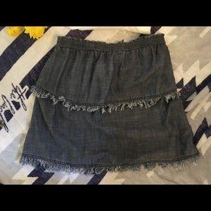 Trina Turk denim fringe miniskirt