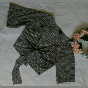 Torrid gray cropped knit sweater tie waist crochet